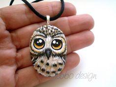 Owl Pendant - Painted Stone