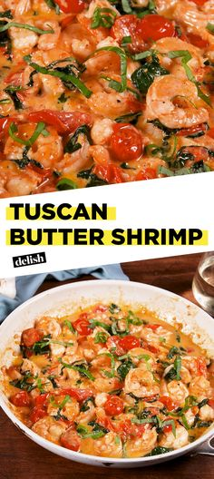 This creamy Tuscan Butter Shrimp could be yours in just 20 minutes. Get the recipe at Delish.com. #recipe #easyrecipe #shrimp #seafood #italianfood #spinach #tomatoes #parmesan #cheese #butter #cream #lemon #dinner #easydinner #dinnerrecipes