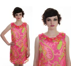 Mod Sheer Babydoll Dress 60s Formal Cocktail by neonthreadsdesigns, $65.00
