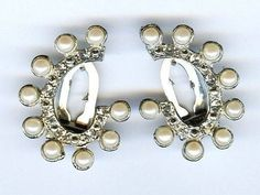 Pair of Vtg 1940s Silver Tone Plated Faux Pearl Clear Rhinestone Dress Clips