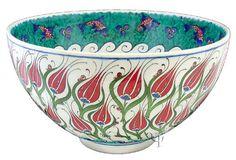 Iznik Design Ceramic Bowl - Lale and Balik