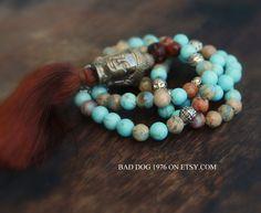 Mala Necklace, MALA PRAYER BEADS,Buddha Mala Necklace,Yoga Necklace, Yoga Jewelry, Gift Idea,Wrap Bracelet,Wrist Mala,Tassel Necklace,Tassel by BadDog1976 on Etsy