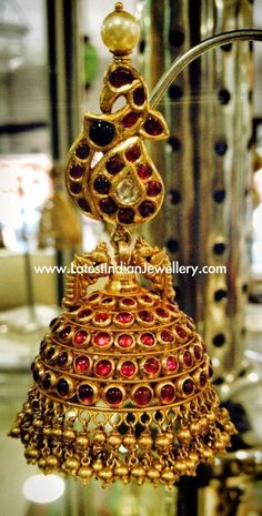 Heavy Gold Ruby Jhumka Design