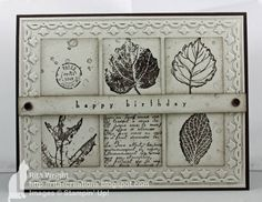 Ritas Creations: Just Add Kathy! T love this black and white look! It actually uses Early Espresso. Paper is Early Espresso and Naturals white. Stamps: Gently Falling(R), All Holidays (R), French Foliage 1 square punch, vintage trinkets Scrapbooking, Scrapbook Cards, Leaf Cards, Thanksgiving Cards, Fall Cards, Masculine Cards, Card Tags, Paper Cards, Creative Cards