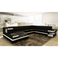 1201 Modern Black Leather Sectional Sofa