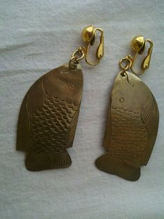 Vintage Brass Fish Clip On Earrings by CrazyDeeDee on Etsy