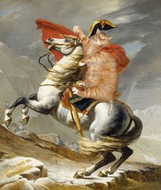 Napoleon Crossing the Alps, also known as Napoleon at the Saint-Bernard Pass or Bonaparte Crossing the Alps First Versailles version by Jacques-Louis David Chateau De Malmaison, Rueil Malmaison, James Abbott Mcneill Whistler, Famous Artwork, Classic Paintings, Ginger Cats, Fat Cats, Crazy Cats, Art Google