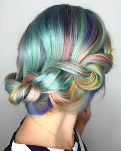 Rainbow Hair Revolution: Pastel Plaits; this waterfall braid in unicorn hues is the perfect whimsical touch.