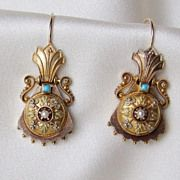 Gorgeous Victorian 14k Etruscan Revival Earrings, Turquoise and Pearl!