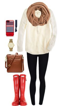 mismiles9:  Red hunters by perfectly-preppy featuring elastic hair ties ❤ liked on PolyvoreJ Crew white shirt / Blue legging / Hunter rain boots, $140 / Coach leather handbag / Kate spade jewelry / J Crew infinity scarf / Kate spade iphone case / Splendid elastic hair tie
