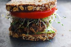 "pistachio burger | The ""choose three"" formula for a veggie burger: a veggie, a grain, and pistachios"
