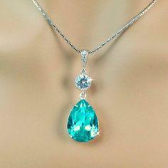 Teal Blue Necklace Swarovski Crystal Light by BeYourselfJewelry, $24.99