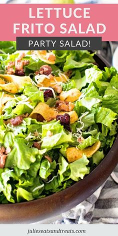Looking for a new salad to bring to a friend's house, holiday, potluck or backyard BBQ? Lettuce Frito Salad is what you need! A combination of lettuce, bacon, cranberries and corn ships that's tossed in tangy, homemade Poppy Seed Dressing. #lettuce #salad Lettuce Salad Recipes, Summer Salad Recipes, Vegetarian Recipes Easy, Healthy Salad Recipes, Summer Salads, Yummy Recipes, Yummy Food, Healthy Eats, Tasty