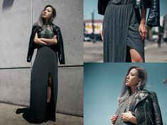 Heartloom Maxi Dress, Leather Moto, Haati Chai Kiya Body Chain, Jeffrey Campbell Mulder Boot