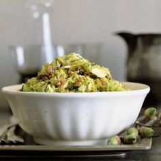 Shredded Brussels Sprouts with Maple Hickory Nuts recipe | Epicurious.com
