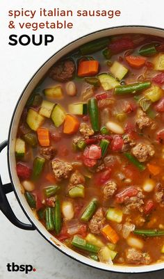 Spicy Italian Sausage and Vegetable Soup , Loaded with vegetables and spicy sausage, this simple soup offers something for everyone at the table. Pair with a green salad, and dinner is done. Best Vegetable Soup Recipe, Vegetable Soup Crock Pot, Homemade Vegetable Soups, Vegetable Soup With Chicken, Veggie Soup, Chicken Soup Recipes, Italian Vegetable Soup, Vegetable Salad, Shrimp Recipes