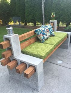 How to Make a Bench from Cinder Blocks | Woodworking Session