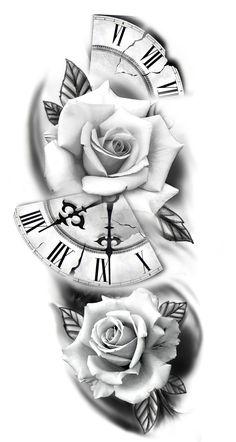 Armband Tattoo Design, Clock Tattoo Design, Floral Tattoo Design, Tattoo Sleeve Designs, Clock Tattoo Sleeve, Skull Rose Tattoos, Lily Flower Tattoos, Body Art Tattoos, Rose Drawing Tattoo