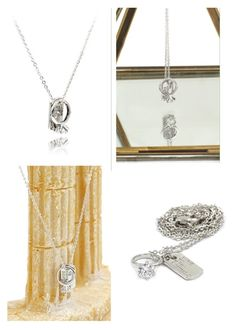 """""""Silver square brand crystal ring necklace"""" by oceanfashion on Polyvore"""
