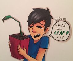 """ryanperch-art: """" The end of Mr. House Plant 😔 Also plant puns omg """""""