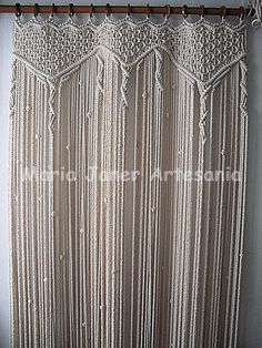 Macrame Curtains. What Fun! A thinner cord would be a bit more feminine.