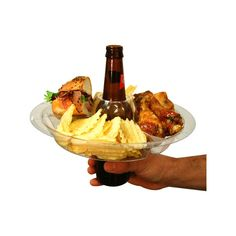 Go Plates make it so you're never caught standing in a corner hungry again. If there's nowhere to set your plate, simply put it on top of your cup. All cups too, wine glasses, mugs, long neck bottles and beer cans alike. #hosting #tailgating #goplate #party #ingenious
