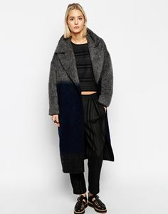 ASOS WHITE Ombre Mohair Wool Mix Coat #winter2015 #musthave
