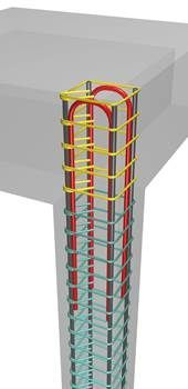 If the construction of a 'column cap' is not a desirable solution due to reasons like e. the need for a flat roof, then the column rebars of the upper floor can be anchored according to one of the existing ways. Concrete Walkway, Concrete Wall, Building Systems, Building Structure, Earthquake Proof Buildings, Civil Engineering Construction, Building Foundation, Steel Columns, Concrete Structure