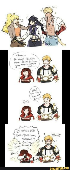 "RWBY: ""IT WAS NICE KNOWING YOU, JAUNE!""<<<So are we just ignoring the Pyrrha comment? Yeah? Cool."