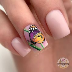 Butterfly Nail Designs, Butterfly Nail Art, Nail Art Designs Videos, Best Nail Art Designs, Cute Nails, Pretty Nails, My Nails, Lemon Nails, Cat Nail Art