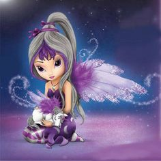 Unicorn Fairy : Midnight Dream from Jasmine Becket-Griffith and the Hamilton Collection - Baby Unicorn Unicorn And Fairies, Elves And Fairies, Cute Fairy, Baby Fairy, Fantasy Kunst, Fantasy Art, Fairy Dust, Fairy Tales, Dragons