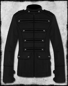 TRIPP NYC BLACK NIGHT PATROL MENS GOTH STEAMPUNK MILITARY JACKET PEA COAT SZ $75