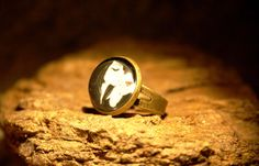 Girl with butterfly ring adjustable ring by Bernsteinufer on Etsy