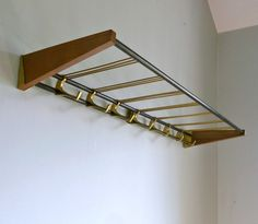 Mid Century Modern Coat / Hat Rack - Teak Brass Art Deco - Storage, Hallway, Clo