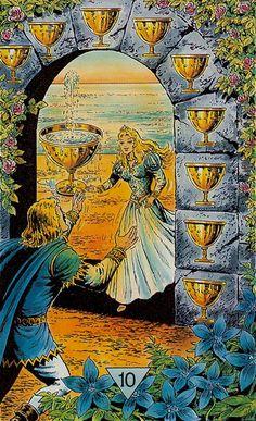 Ten of Cups - Arcus Arcanum Tarot by Hansrudi Wascher, full emotional fulfillment, family