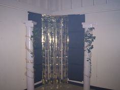 Perfect backdrop for Toga Party picture opportunity...handmade pillars using dollar store poster board and white duct tape, with taped gift boxes on top for pillar effect.  Ivy from the yard, and dollar store gold garland..two perfect Toga Party pillars for twenty dollars.  Back drop is dollar store black poster board and glitter curtain from party store.