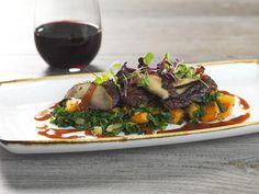 ROASTED PORTOBELLO @ Salt Creek Grille   Balsamic-Marinated, Roasted Beets, Butternut Squash & Kale Hash, Truffle Red Wine Vegetable Jus