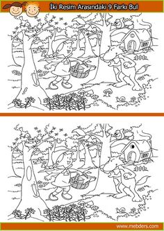 Halloween Find The Differences Puzzle Find The Difference Pictures, English Games, Picture Puzzles, Hidden Pictures, Preschool Learning Activities, Activity Sheets, Puzzles For Kids, Red Riding Hood, Coloring For Kids