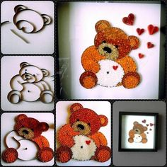 Paper Quilling Tutorial, Paper Quilling Patterns, 3d Quilling, Quilling Paper Craft, Easy Paper Crafts, Diy And Crafts, Origami, Teddy Bear Design, Quilling Animals