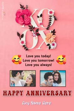 Happy Anniversary 2 Photos With Name and Wish Online. Here you can easily add 2 photos of the beautiful couple to wish them on their wedding anniversary in special and lovely way. Anniversary Wishes For Couple, 2nd Wedding Anniversary, Anniversary Greetings, Romantic Anniversary, Wish Online, Birthday Wishes With Name, 2 Photos, Beautiful Couple, Unique Weddings