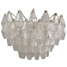 Murano Polyhedral Glasses Chandelier, Attributed to Carlo Scarpa for Venini | From a unique collection of antique and modern chandeliers and pendants  at https://www.1stdibs.com/furniture/lighting/chandeliers-pendant-lights/