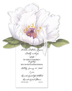 A beautiful white peony cutout is tied to a petite ivory card with a pretty ivory ribbon. Use this blooming card as an invitation to a casual garden party or bridal shower.