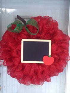 Large Apple Chalkboard Teacher Appreciation Deco Mesh Ribbon Wreath