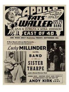 Apollo Theatre Handbill: Fats Waller, Lucky Millinder, Sister Tharpe Music Art Print - 30 x 41 cm Jazz Poster, Blue Poster, Fats Waller, Apollo Theater, Theatre, Vintage Music Posters, Classic Jazz, Jazz Art, Boogie Woogie
