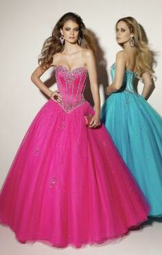 Tulle Strapless Lace up Long Princess Prom Dress