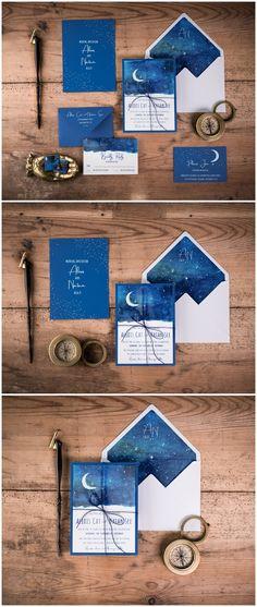 Blue Night Watercolor Wedding Invitation #weddings #invitation #weddingideas