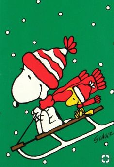 Snoopy and Woodstock from Peanuts are sledding on a Christmas green background - Game Props - Weihnachten Peanuts Christmas, Charlie Brown Christmas, Christmas Art, Xmas, Snoopy Und Woodstock, Snoopy Love, Peanuts Cartoon, Peanuts Snoopy, Snoopy Cartoon
