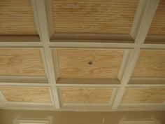 Ceiling idea, with beadboard panels to provide easy access to the plumbing above.