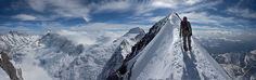 Stitched shot approaching the Eiger Summit after climbing the 1938 route  © Jon Griffith  Climbers: Will Sim