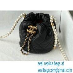 Chanel Pearl Chain Mini Drawstring Bucket Bag AS2529 Black 2021